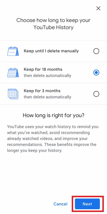 choose how long you want to keep your YouTube History