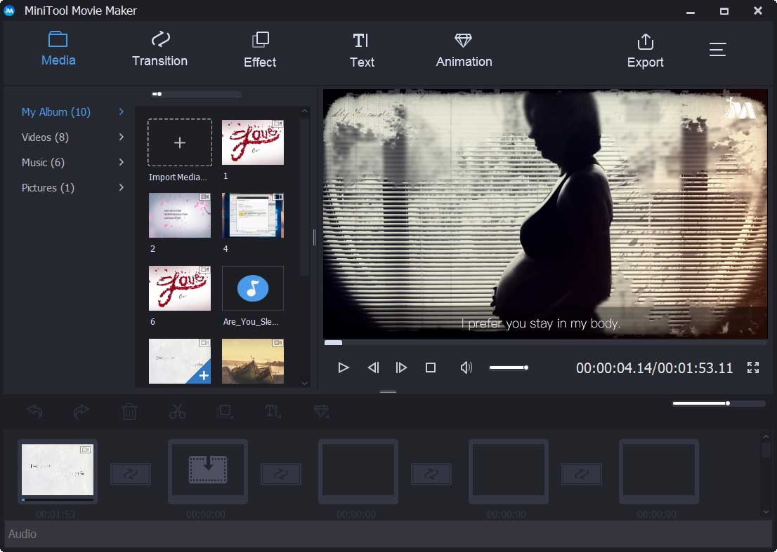 the main interface of MiniTool Movie Maker